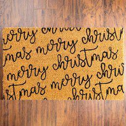 New!Merry Christmas Script Door Mat   Kirkland's Home