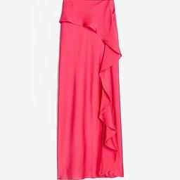 High Waisted Satin Ruffle Midi Slip Skirt | Express