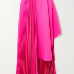 Asymmetric pleated neon wool-blend midi skirt | Net-a-Porter (US)