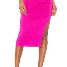 superdown Tiffani Ruched Midi Skirt in Fuchsia from Revolve.com | Revolve Clothing (Global)