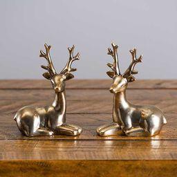 Gold Porcelain Deer Statues, Set of 2 | Kirkland's Home