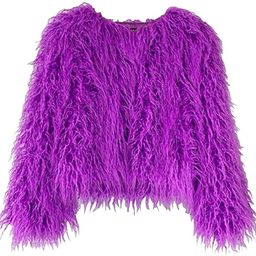 Adonis Pigou Winter Fluffy Faux Fur Coat Women's Shaggy Jacket Long Sleeve Outwear | Amazon (US)