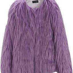 EVEDESIGN Women's Shaggy Faux Fur Coats Solid Color Long Sleeve Short Outwear Coat Jacket | Amazon (US)