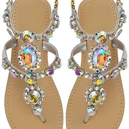Hinyyrin Women's Rhinestone Flat Sandals, Dresses Beach Bridal Wedding Shoes, Bohemian Crystal Sa... | Amazon (US)