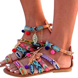 Aunimeifly Women's Bohemian Wind Sandals Gladiator Leather Flats Shoes Pom-Pom Sandals | Amazon (US)