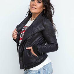 The Moto Babe Black Faux Leather Jacket | Apricot Lane Boutique