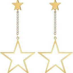 EARLLER Star Dangle Earrings - 14k Gold Plated Pentagram Drop Huggie Hoop With Hypoallergenic 925... | Amazon (US)