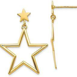 14k Yellow Gold Star Drop Dangle Chandelier Post Stud Earrings Celestial Fine Jewelry For Women G... | Amazon (US)