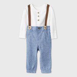 Baby Boys' Chambray Thermal Bodysuit Suspender Romper Set - Cat & Jack™ Cream | Target