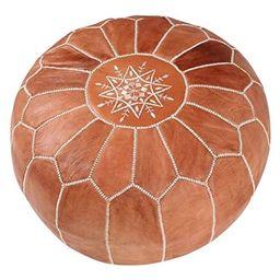 maisonmarrakech | Beautiful Handmade Real Moroccan Tan Brown Leather Footstool Pouf from Marrakec... | Walmart (US)