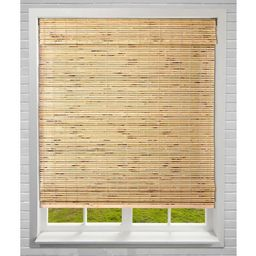 Petite Rustique Cordless Light-Filtering Bamboo Roman Shades 34.5 in. W x 60 in. L | The Home Depot
