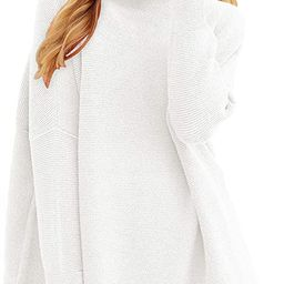 ANRABESS Women Casual Turtleneck Batwing Sleeve Slouchy Oversized Ribbed Knit Tunic Sweaters Dres... | Amazon (US)