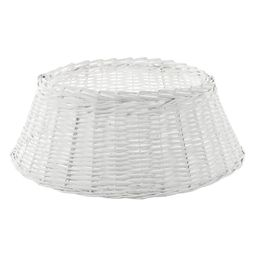 Home Accents Holiday 27 in. D White Wicker Christmas Tree Collar | The Home Depot