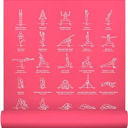 """NewMe Fitness Instructional Yoga Mat Printed w/ 70 Illustrated Poses, 24"""" Wide x 68"""" Long 