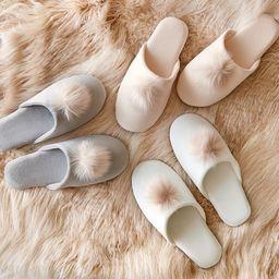 Velvet Pom Pom Slippers | Pottery Barn (US)