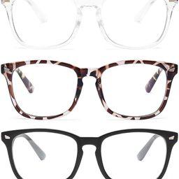 Gaoye 3-Pack Blue Light Blocking Glasses, Fashion Square Fake Nerd Eyewear Anti UV Ray Computer G... | Amazon (US)