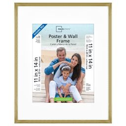 """Mainstays 16""""x20"""" Matted to 11""""x14"""" With Mat Brass Metallic Poster and Picture Frame 