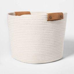 "13"" Decorative Coiled Rope Square Base Tapered Basket Medium White - Threshold™ | Target"