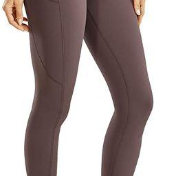 CRZ YOGA Women's Matte Brushed Light-Fleece Leggings High Waisted Workout Yoga Pants with Pocket ... | Amazon (US)