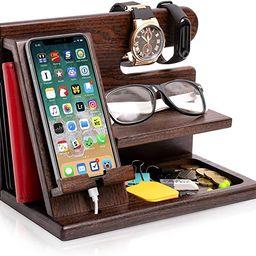 TESLYAR Wood Phone Docking Station Ash Key Holder Wallet Stand Watch Organizer Men Gift Husband W... | Amazon (US)