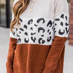 Neverending Joy Rust Animal Print Sweater | The Pink Lily Boutique