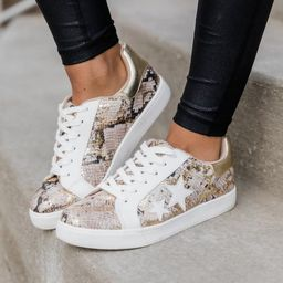 Kendra Snakeskin Star Sneakers Gold | The Pink Lily Boutique