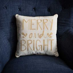New!Cream and Gold Embroidered Merry and Bright Pillow | Kirkland's Home