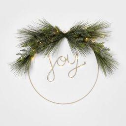 24in Pre-Lit JOY Flocked LED Wreath - Wondershop™ | Target