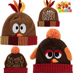 2 Pcs Thanksgiving Pom Pom Beanie Hats for Turkey Trots Dress Up Party, Role Play and Carnival Co... | Amazon (US)