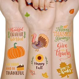 Thanksgiving Tattoos Party Favors - Turkey Day Happy Fall Give Thanks Supplies Decorations 180Ct | Amazon (US)