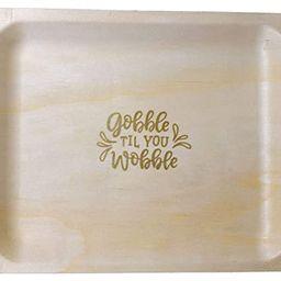 "Perfect Stix 10"" Disposable Wooden Plates with Thanksgiving Theme Print""Gobble Til You Wobble""- P... | Amazon (US)"