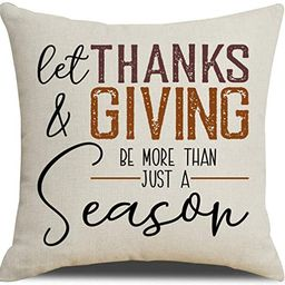 MFGNEH Let Thanks and Giving Be More Than Just a Season Thanksgiving Pillow Covers 18x18 Inches T... | Amazon (US)