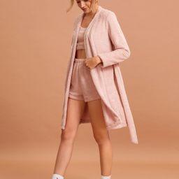 3pack Solid Flannel PJ Set & Belted Robe   SHEIN