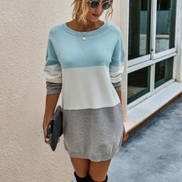 Color Block Drop Shoulder Sweater Dress   SHEIN