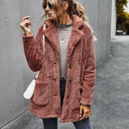 Button Front Double Pocket Teddy Coat   SHEIN