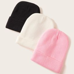 3pcs Solid Knitted Beanies   SHEIN