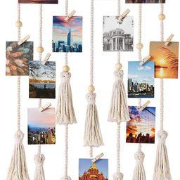Mkono Hanging Photo Display Macrame Wall Hanging Pictures Organizer Boho Home Decor, with 30 Wood...   Amazon (US)