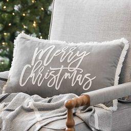 Gray Merry Christmas Accent Pillow   Kirkland's Home
