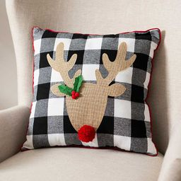 New!Black and White Red Nose Reindeer Pillow | Kirkland's Home