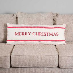 New!Red and Cream Stripe Merry Christmas Bench Pillow   Kirkland's Home