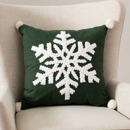 New!White Snowflake and Green Pom Pom Accent Pillow   Kirkland's Home