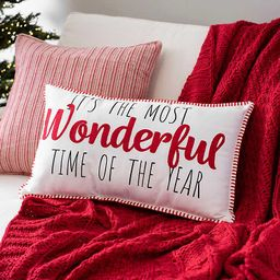 The Most Wonderful Time Stitch Accent Pillow   Kirkland's Home
