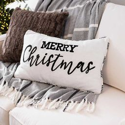 Black and White Merry Christmas Accent Pillow   Kirkland's Home
