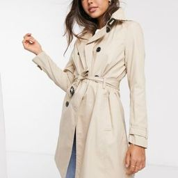 Stradivarius midi trench coat in beige | ASOS (Global)