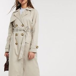 Only trench coat with check lining in beige | ASOS (Global)