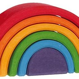 """Grimm's Small (Mini) 6-Piece Rainbow Nesting Wooden Blocks Stacker, """"Elements"""" of Nature: AIR 