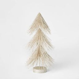 12in Unlit Tinsel Christmas Tree Decorative Figurine Champagne - Wondershop™   Target