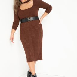 Ribbed Midi Dress With Neck Detail | Eloquii