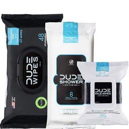 DUDE Wipes Flushable (48ct), DUDE Shower Body Wipes (8ct), & DUDE Face Wipes (30ct) Unscented wit... | Amazon (US)