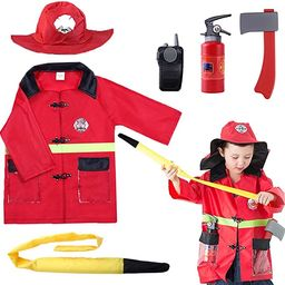 iPlay, iLearn Kids Fire Chief Costume, Halloween Fireman Dress Up Set, Fire Fighter Outfit, Prete...   Amazon (US)